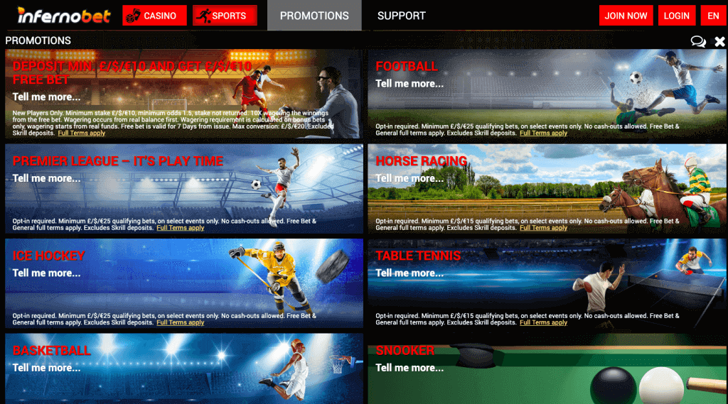 infernobet promotions bettingsites review